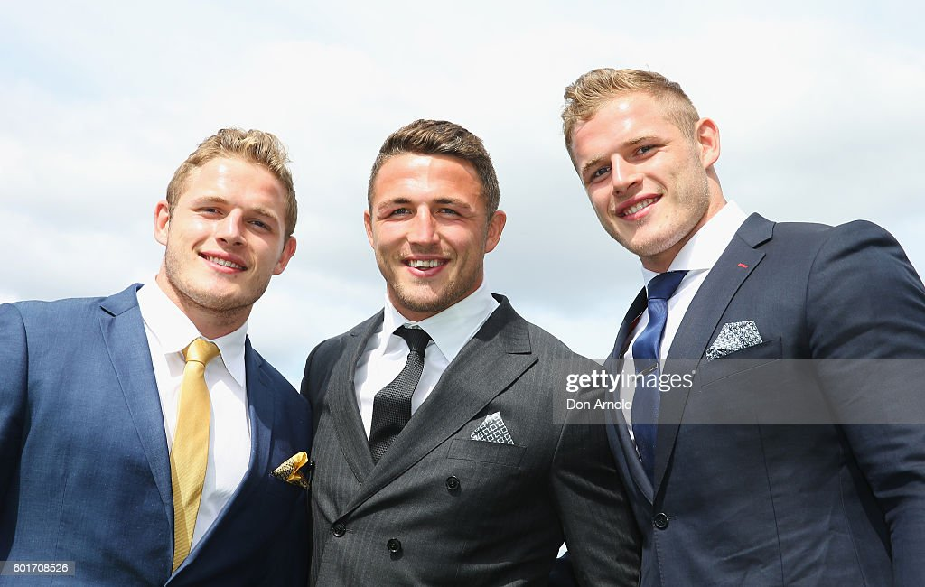 Tom Burgess, Sam Burgess and George Burgess attend Golden Rose Day at Rosehill Gardens on September 10, 2016 in Sydney, Australia.