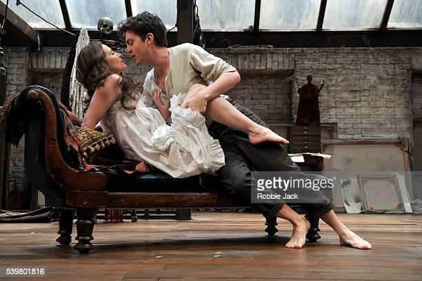 Tom Burke as Dubedat and Genevieve O'Reilly as Jennifer Dubedat in Bernard Shaw's The Doctor's Dilemma directed by Nadia Fall at the National Theatre...