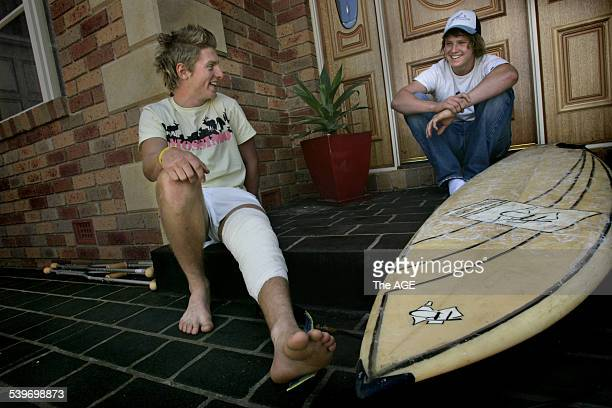 Tom Burke was attacked by a shark when he was surfing near Flinders with his mate Simon Chambers on 26 November 2005 THE AGE NEWS Picture by ANGELA...