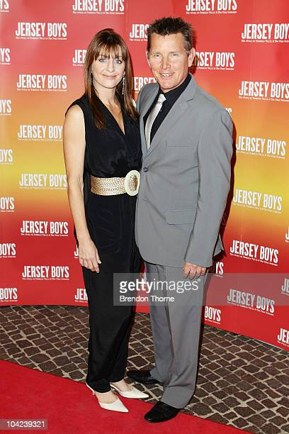 Tom Burlinson and Mandy Burlinson arrives at the opening night for Jersey Boys The Story of Frankie Valli the Four Seasons at the Theatre Royal on...