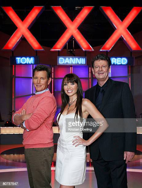 Tom Burlinson Dannii Minogue and Red Symons pose together during a media call for 'Australia's Got Talent' at Global TV on April 18 2008 in Melbourne...