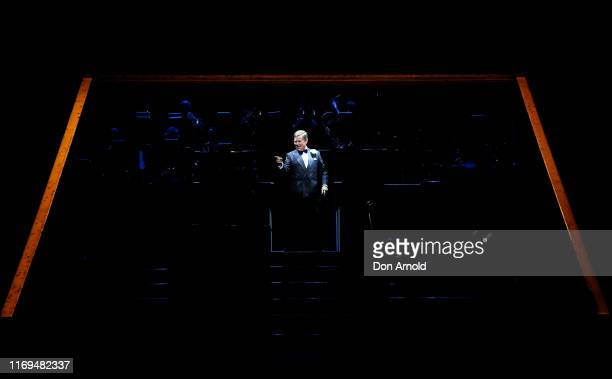 Tom Burlinson performs the role of Billy Flynn during a production media call for CHICAGO at Capitol Theatre on August 22 2019 in Sydney Australia