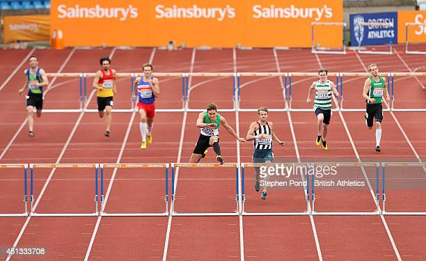 Tom Burton in action in the heats of the Men's 400m hurdles event during the Sainsbury's British Athletics Championships at Birmingham Alexander...