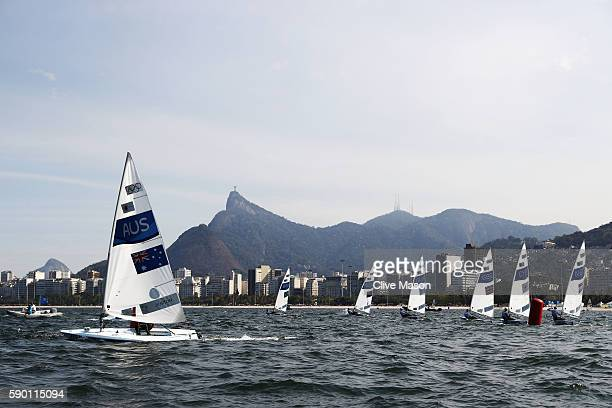 Tom Burton of Australia sails on his way to winning the gold medal in the Men's Laser class on Day 11 of the Rio 2016 Olympic Games at the Marina da...