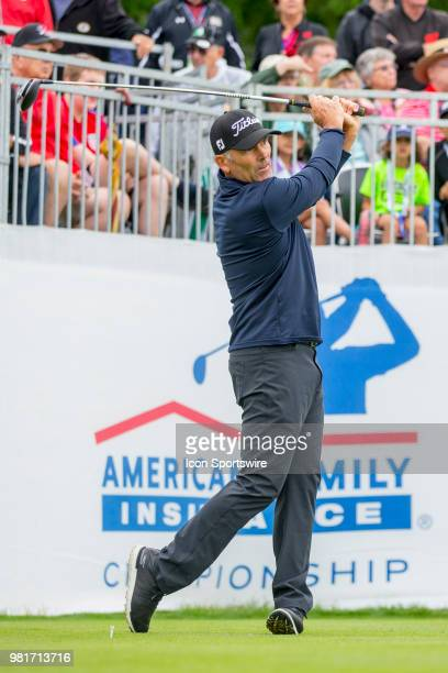 Tom Byrum tees off on the first tee during the American Family Insurance Championship Champions Tour golf tournament on June 22 2018 at University...
