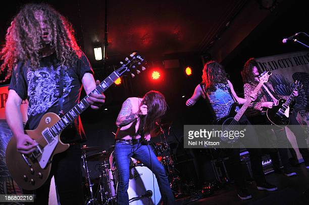 Tom Cain, Jake Wiffen, Mick Quee and Sean Blanchard of Dead City Ruins performs on stage at Manchester Academy on October 24, 2013 in Manchester,...