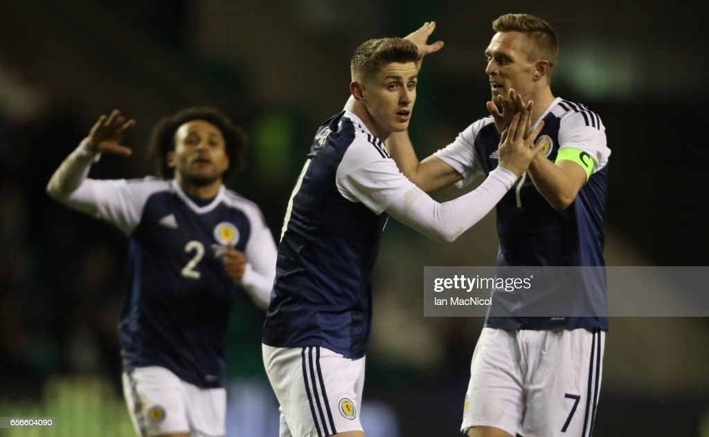 Tom Cairney and Darren Fletcher of Scotland celebrates scotlands' only goal during the International Challenge Match between Scotland and Canada at Easter Road on March 22, 2017 in Edinburgh, Scotland.