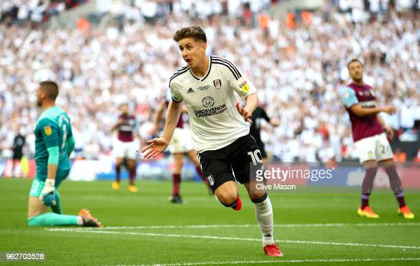 Tom Cairney of Fulham celebrates after scoring his sides first goal during the Sky Bet Championship Play Off Final between Aston Villa and Fulham at...