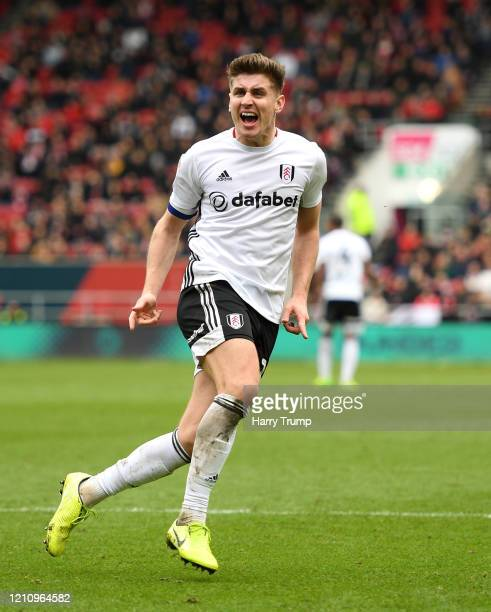 Tom Cairney of Fulham celebrates after scoring his team's first goal during the Sky Bet Championship match between Bristol City and Fulham FC at...