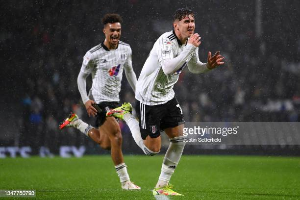 Tom Cairney of Fulham celebrates after scoring their team's first goal during the Sky Bet Championship match between Fulham and Cardiff City at...