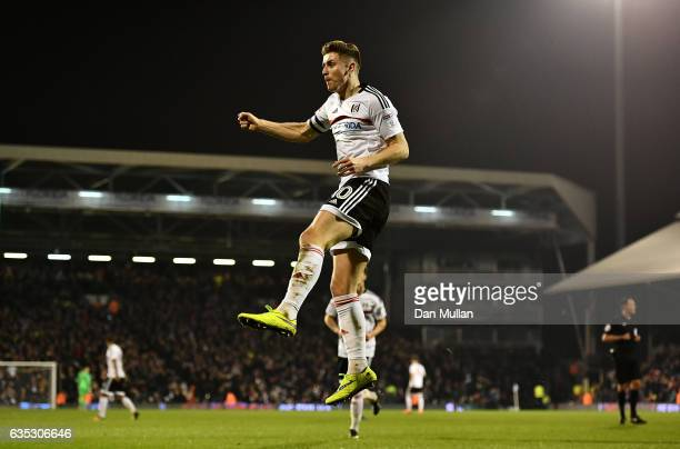 Tom Cairney of Fulham celebrates scoring his side's first goal during the Sky Bet Championship match between Fulham and Nottingham Forest at Craven...