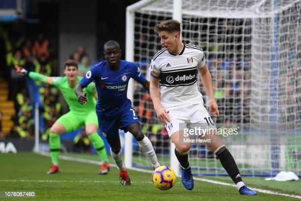 Tom Cairney of Fulham in action during the Premier League match between Chelsea FC and Fulham FC at Stamford Bridge on December 02 2018 in London...