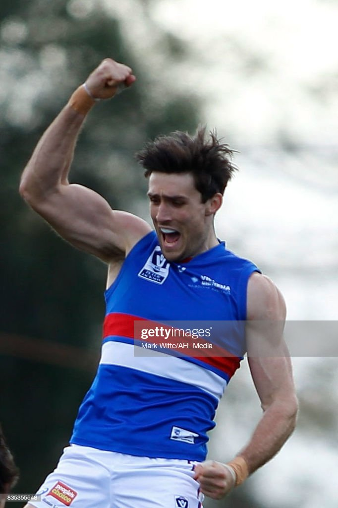 Tom Campbell of Footscray Bulldogs celebrates a goal during the round 18 VFL match between the Essendon Bombers and Footscray Bulldogs at Windy Hill on August 19, 2017 in Melbourne, Australia.