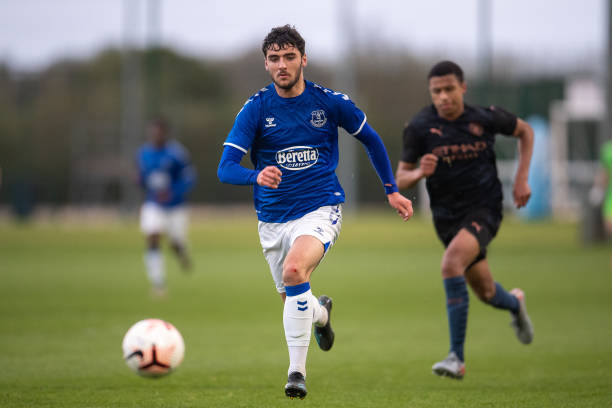 Tom Cannon of Everton chases the ball during the U18 Premier League match between Everton and Manchester City at USM Finch Farm on May 04, 2021 in...
