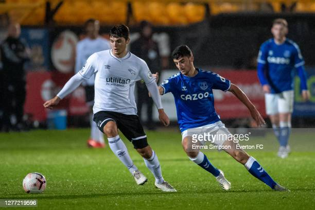 Tom Cannon of Everton in action during the Premier League 2 match between Everton and Derby County at Merseyrail Community Stadium on September 28,...