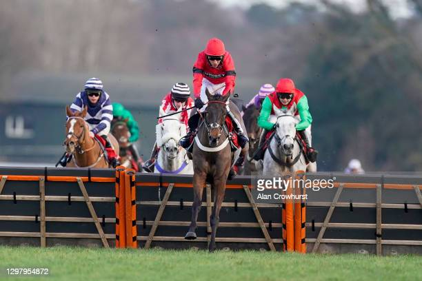 Tom Cannon riding Craigneiche clear the last to win The Matchbook Better Way To Bet Holloway's Handicap Hurdle at Ascot Racecourse on January 23,...