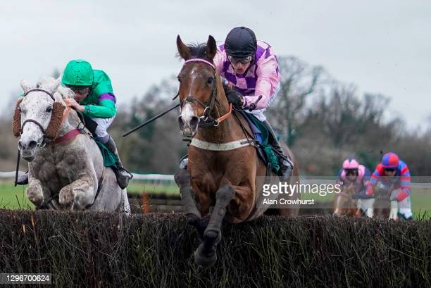 Tom Cannon riding Notachance clear the last to win The McCoy Contractors Civil Engineering Classic Handicap Chase at Warwick Racecourse on January...