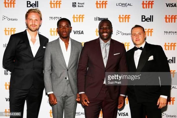 Tom Canton Damson Idris Adewale AkinnuoyeAgbaje and Theo BarklemBiggs attend the 'Farming' premiere during 2018 Toronto International Film Festival...