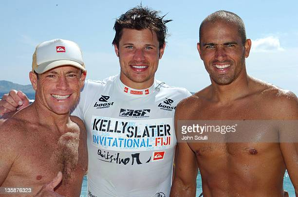 Tom Carroll Nick Lachey and Kelly Slater during Kelly Slater Invitational Fiji Day 4 Celebrity ProAm Presented by Quiksilver at Restaurants in...