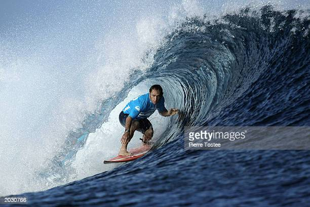 Tom Carroll of Australia in action during the Quiksilver Pro on May 26 2003 at Cloudbreak Reef Tavarua Fiji Carroll withdrew from the Quiksilver Pro...