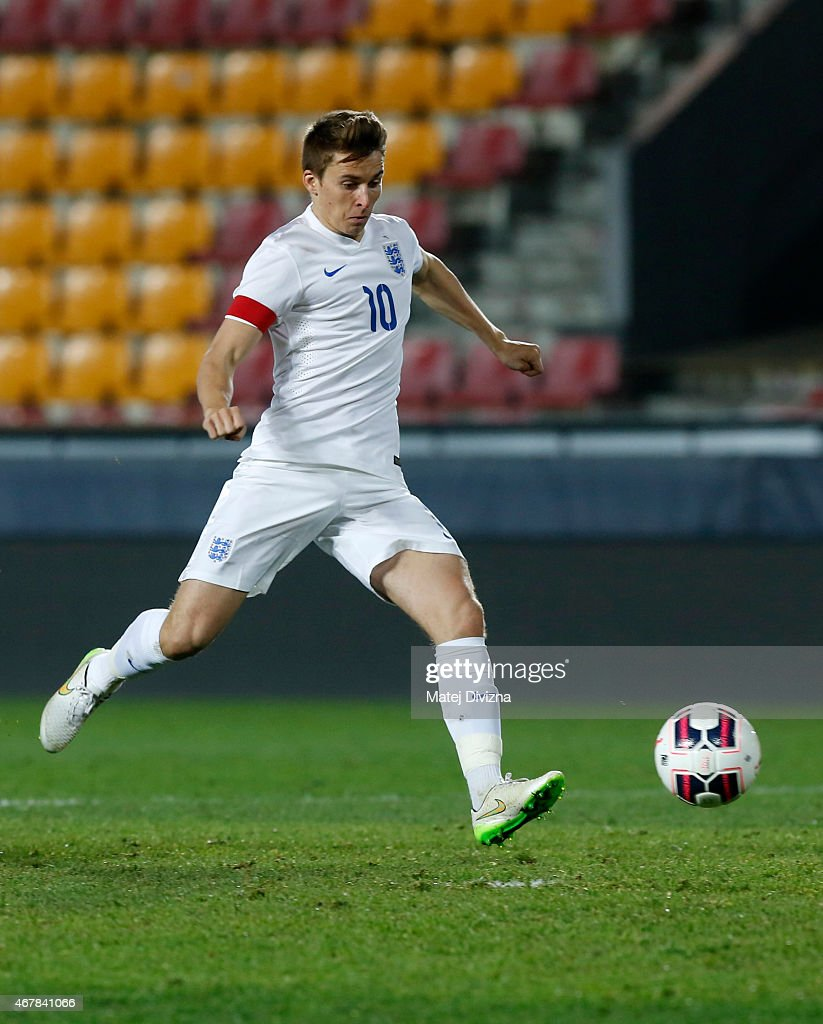 Tom Carroll of England shoots for goal during the international friendly match between U21 Czech Republic and U21 England at Letna Stadium on March 27, 2015 in Prague, Czech Republic.
