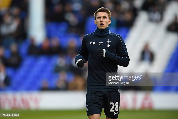 Tom Carroll of Spurs warms up prior to kickoff during The Emirates FA Cup third round match between Tottenham Hotspur and Leicester City at White...
