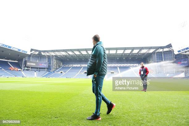 Tom Carroll of Swansea City arrives at Hawthorns Stadium prior to kick off of the Premier League match between Swansea City and West Bromwich Albion...