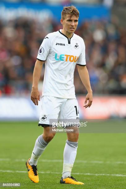 Tom Carroll of Swansea City during the Premier League match between Swansea City and Newcastle United at Liberty Stadium on September 10 2017 in...