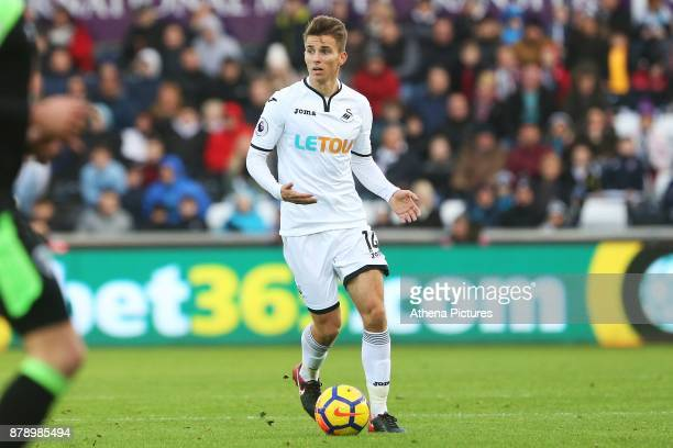 Tom Carroll of Swansea City during the Premier League match between Swansea City and Bournemouth at the Liberty Stadium on November 25 2017 in...