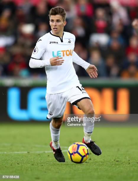 Tom Carroll of Swansea City during the Premier League match between Swansea City and AFC Bournemouth at Liberty Stadium on November 25 2017 in...