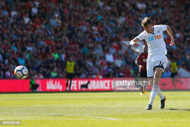 Tom Carroll of Swansea City fires a shot on goal during the Premier League match between AFC Bournemouth and Swansea City at Vitality Stadium on May...