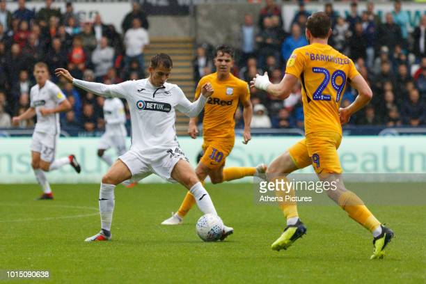Tom Carroll of Swansea City in action during the Sky Bet Championship match between Swansea City and Preston North End at the Liberty Stadium on...