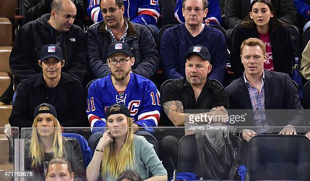 Tom Cavanagh and Diego Klattenhoff attend the Washington Capitals vs New York Rangers playoff game at Madison Square Garden on April 30 2015 in New...