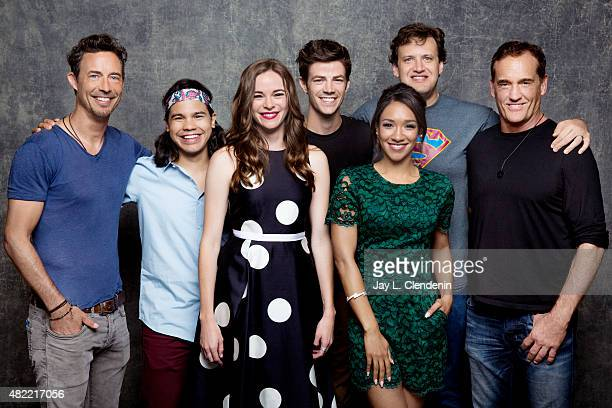 Tom Cavanagh Carlos Valdes Danielle Panabaker Grant Gustin Candice Patton Andrew Kreisberg and John Wesley Shipp of 'The Flash' pose for a portrait...