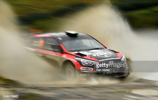 Tom Cave of Great Britain and Tom Cave drives with codriver James Morgan of Great Britain during the Sweet Lamb stage on day three of the FIA World...