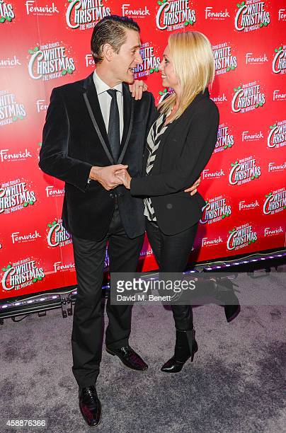 "Tom Chambers and Camilla Dallerup arrive at the ""White Christmas"" press night after party at The Bloomsbury Ballroom on November 12, 2014 in London,..."