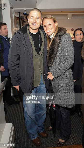 Tom Chambers and Clare Harding attend a party to celebrate the launch of the award winning Fiat 500 at the London Eye on monday january 21st 2008 in...