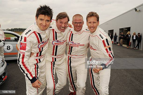 Tom Chambers, Lord Charlie Brockett, Heston Blumenthal and Brendon Cole attend the BSM Centenary Abarth 500 Celebrity Challenge at the Silverstone...