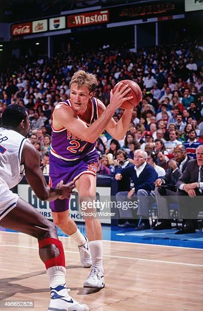 Tom Chambers Of The Phoenix Suns Handles Ball Against Sacramento Kings Circa 1991 At