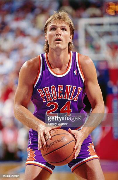 Tom Chambers of the Phoenix Suns shoots a foul shot against the Sacramento Kings circa 1989 at Arco Arena in Sacramento California NOTE TO USER User...