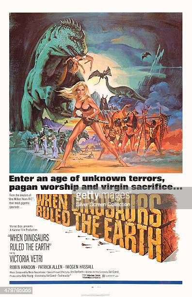Tom Chantrell's poster for Val Guest's 1970 prehistoric adventure 'When Dinosaurs Ruled The Earth' starring Victoria Vetri