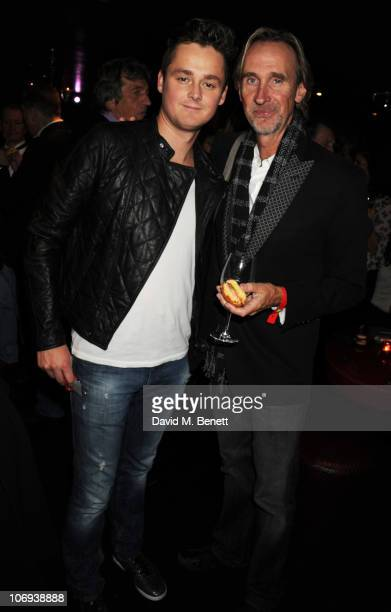 Tom Chaplin and Mike Rutherford attend the afterparty following The Prince's Trust Rock Gala 2010 supported by Novae at The Baglioni Hotel on...
