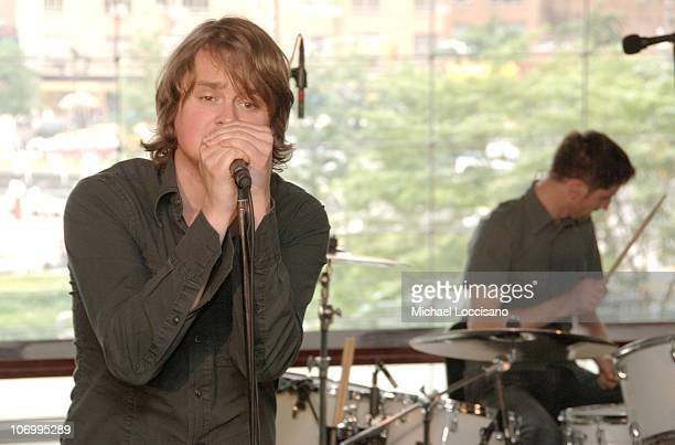 Tom Chaplin and Richard Hughes of Keane during Keane Performance and Autograph Session at Borders Time Warner Center in New York City New York United...