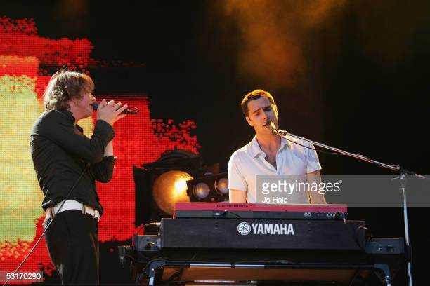 Tom Chaplin and Tim Rice-Oxley of Keane perform on stage at the Wirelss Festival in Hyde Park on June 29, 2005 in London, England.The inaugural...