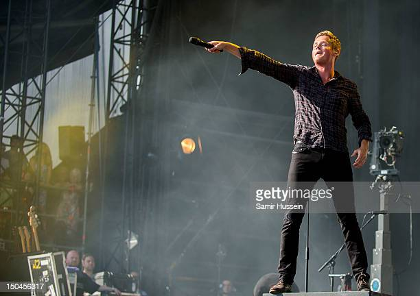 Tom Chaplin of Keane during their perfomance on the Virgin Media Stage on day 1 of the V Festival at Hylands Park on August 18, 2012 in Chelmsford,...
