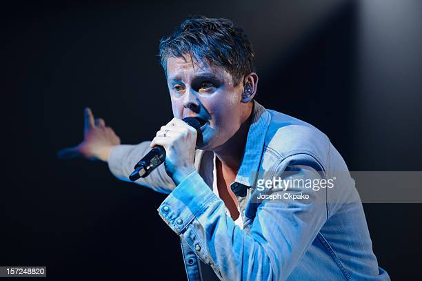 Tom Chaplin of Keane performs at 02 Arena on November 30 2012 in London England