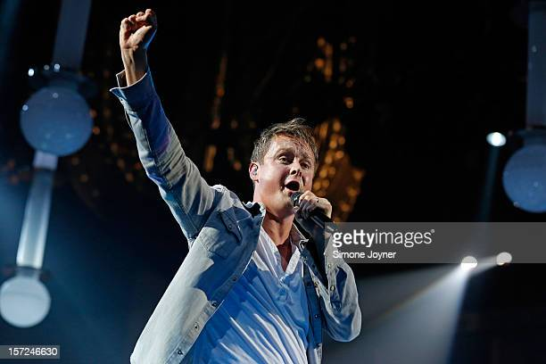 Tom Chaplin of Keane performs live on stage at the 02 Arena on November 30 2012 in London England