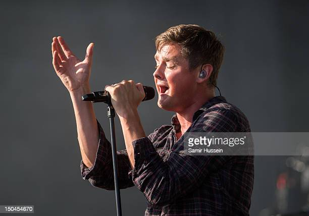 Tom Chaplin of Keane performs on the Virgin Media Stage on day 1 of the V Festival at Hylands Park on August 18 2012 in Chelmsford England