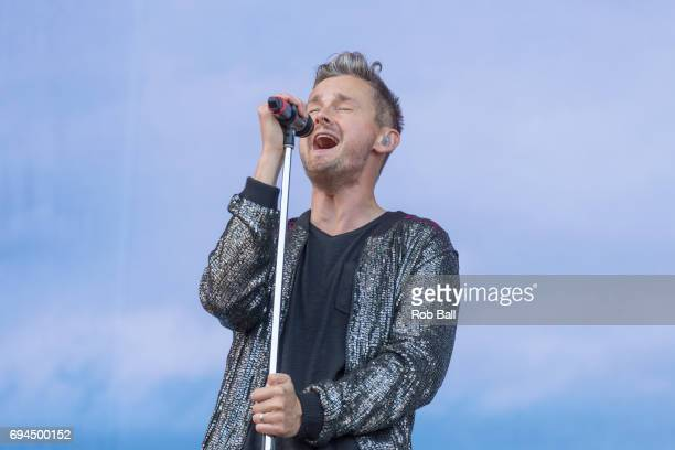 Tom Chaplin the vocalist of Keane performs a solo set on day 3 of The Isle of Wight festival at Seaclose Park on June 10 2017 in Newport Isle of Wight