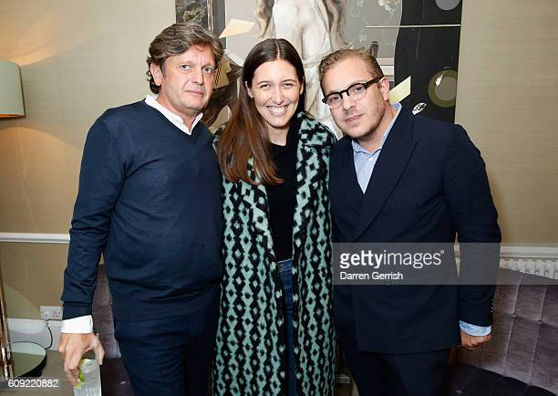 Tom Chapman, Emilia Wickstead and Karl Monge attend Vogue Voice of a Century book launch at Matches Fashion on September 20, 2016 in London, England.